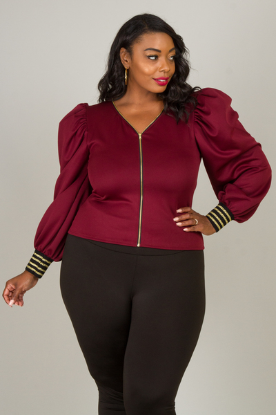 V-NECK ZIP UP PUFFED LONG SLEEVE WITH LUREX BAND JACKET TOP