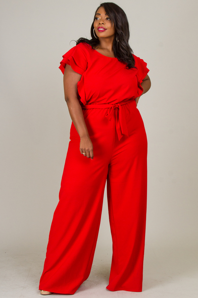 ROUND NECK RUFFLED SLEEVE JUMPSUIT