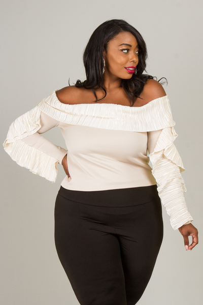 OFF SHOULDER LONG SLEEVE WITH PLATED SATIN RUFFLE TOP