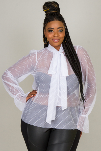 MANDARIN NECK WITH A BOW LONG SLEEVE DOT MESH TOP