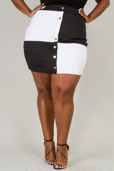 BLACK WHITE COLOR BLOCK MINI SKIRT