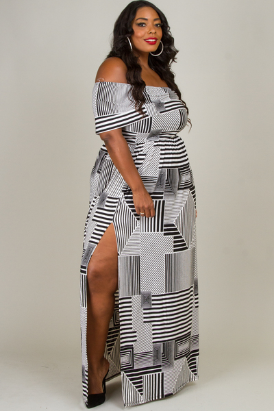 MAXI DRESS WITH FLOUNCE TOP AND SIDE SLIT
