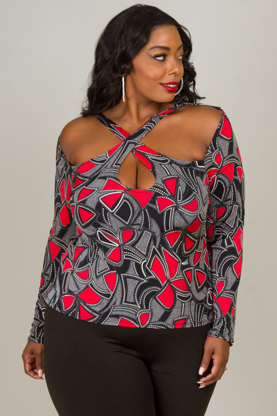 COLD SHOULDER LONG SLEEVE CROSS LINE PRINTED TOP