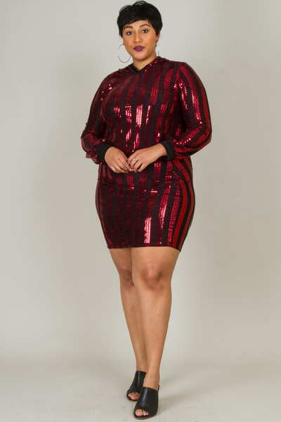 SEQUINS  HOODIE TOP AND SKIRT SET