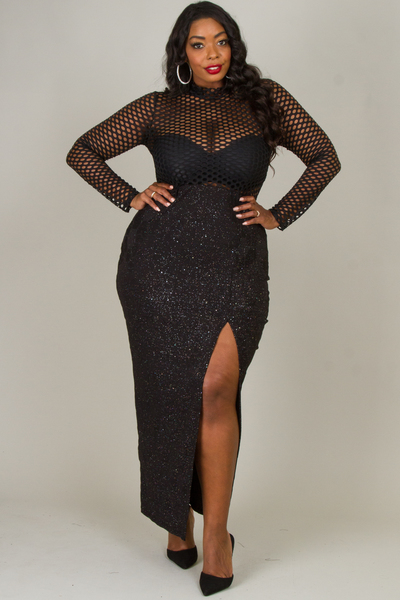 MOCK NECK FISH NET AND GLITTERING SLIT DRESS