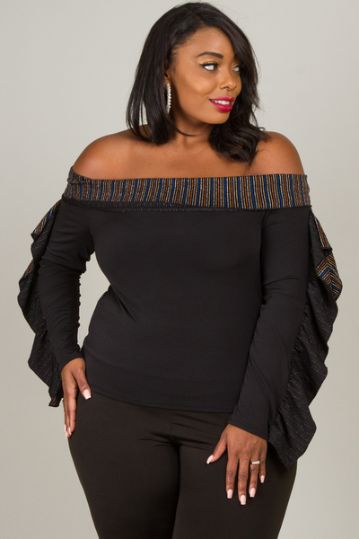 OFF SHOULDER LONG SLEEVE WITH LUREX RUFFLE TOP