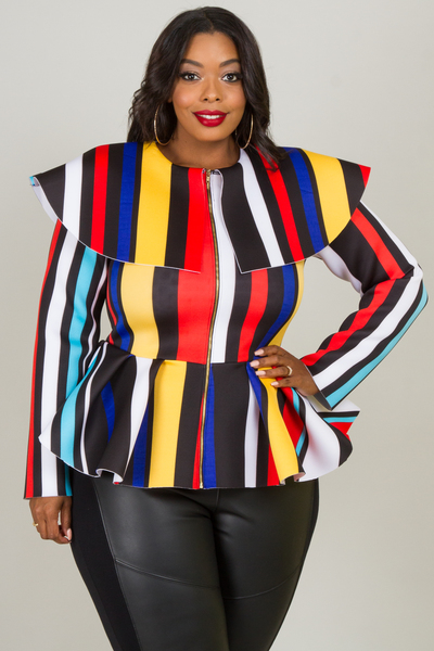 MULTI STRIPE LONG SLEEVE ZIP UP JACKET