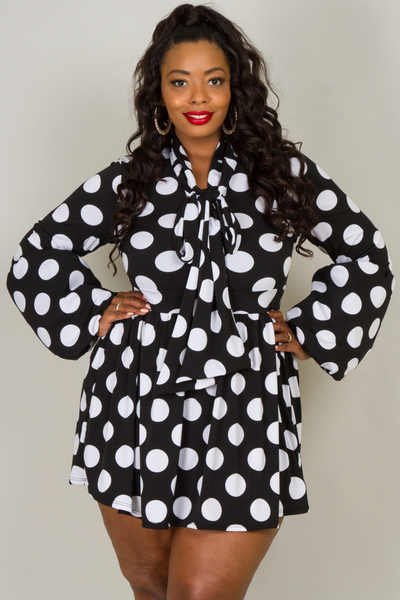 LONG PUFFED OUT SLEEVES WITH BOW DOT PRINTED MINI DRESS