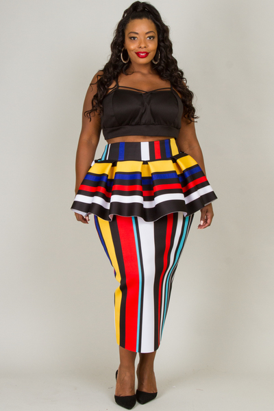 MULTI STRIPE WITH RUFFLED SKIRT