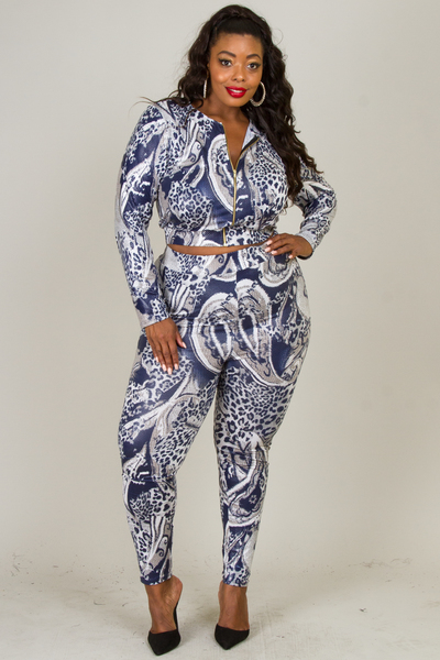 ROUND NECK LONG SLEEVE ZIPPER SNAKE PRINTED PANTS SET