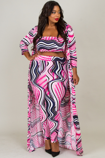 3 PIECE WAVE PATTERN JUMPSUIT SET