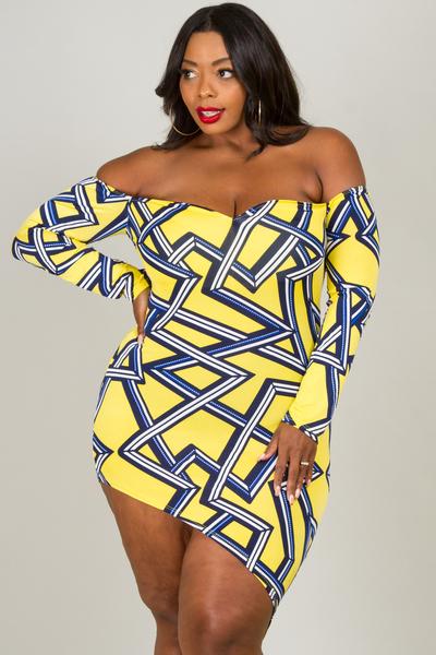 Off shoulder bust shape long sleeve unbalance length dress