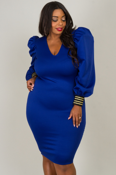 V-NECK PUFFED LONG SLEEVE WITH TRIM CUFF FITTED DRESS