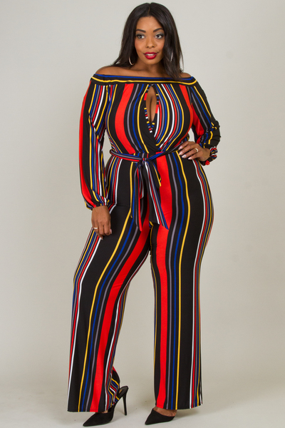 Multi stripe bust overlap point jumpsuits