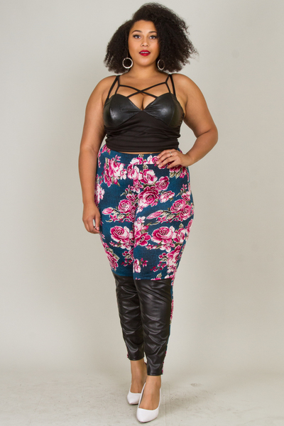 FLOWER PRINTED WITH LEATHER BOTTOM LEGGINS