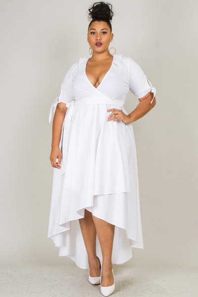 DEEP V-NECK SHORT SLEEVE WAIST TIED OVERLAP DRESS