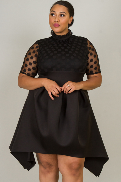 FASHION MOCK NECK SHORT SLEEVE DOT MESH PLEATED SKIRT DRESS