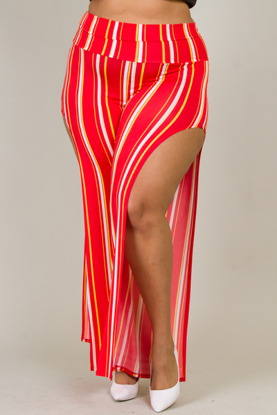 SIDE SLIT HIGH WAIST STRIPED SEXY PANTS
