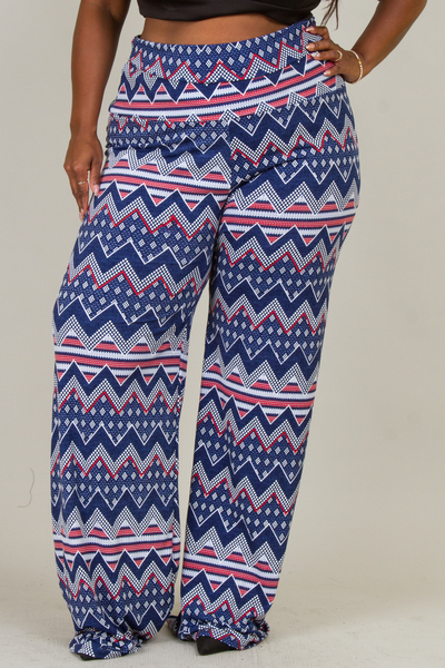 WIDE WAIST PRINTED PANTS