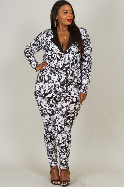 BLACK AND WHITE FLOWER PRINT WITH LITTLE SPANGLE JUMPSUIT