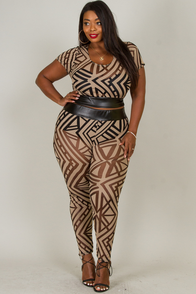 ROUND NECK SHORT SLEEVE PRINT MESH WITH WAIST LEATHER TOP AND PANTS SET