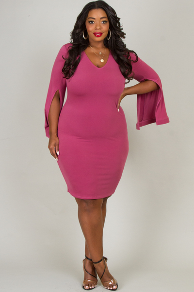 V-NECK FRONT SLIT LONG SLEEVE FITTED DRESS