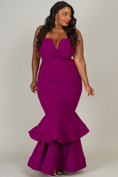 OFF SHOULDER TUBE WIT WIRE SOLID MAXI DRESS