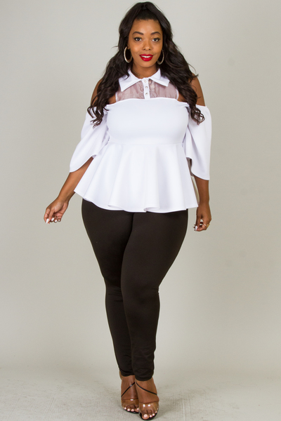 COLD SHOULDER PEPLUM SOLID TOP