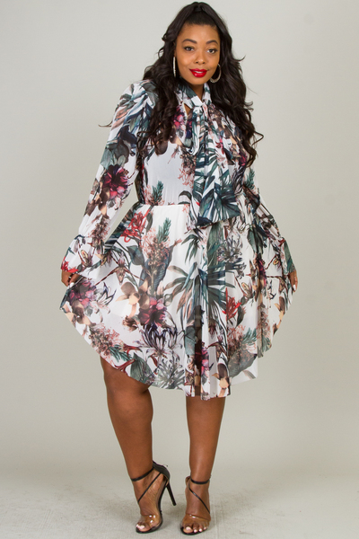 BOW TIE LONG SLEEVE FLOWER PRINTED MESH DRESS