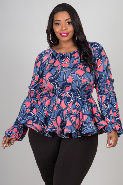 ROUND NECK SMOCKING LONG SLEEVE PEPLUM PRINTED TOP