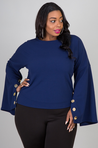 ROUND NECK SLIT SLEEVE WITH BUTTON FORMAL TOP
