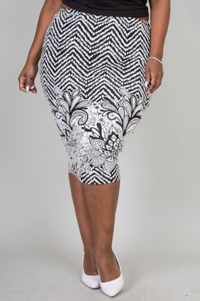 COTTON JACQUARD ONE BORDER FLORAL SKIRT