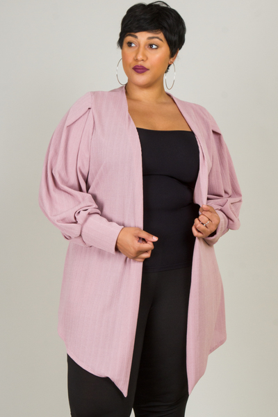 LONG SLEEVES POINT SOLID CARDIGAN