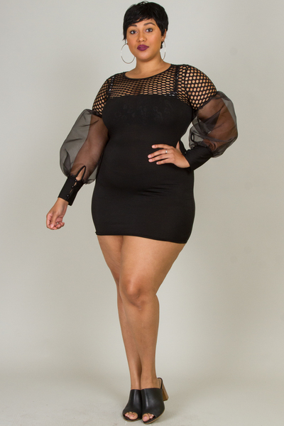 ROUND NECK SEE-THROUGH SLEEVE FITTED MINI DRESS