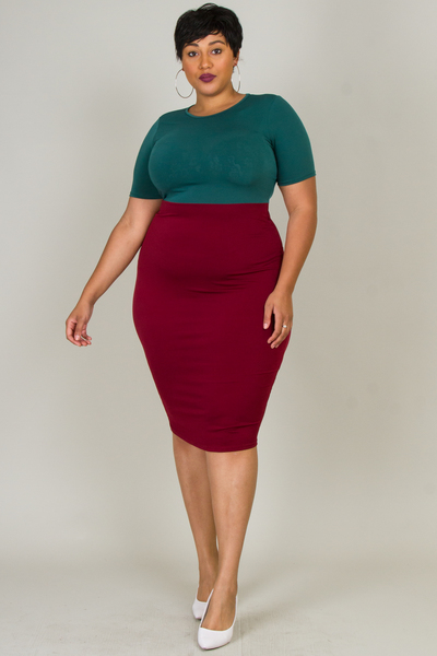 ROUND NECK SHORT SLEEVE COLOR BLOCK FITTED DRESS