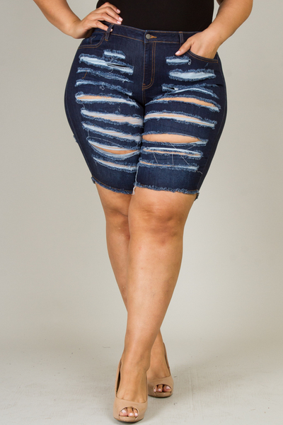 Plus size denim destroyed bermuda shorts