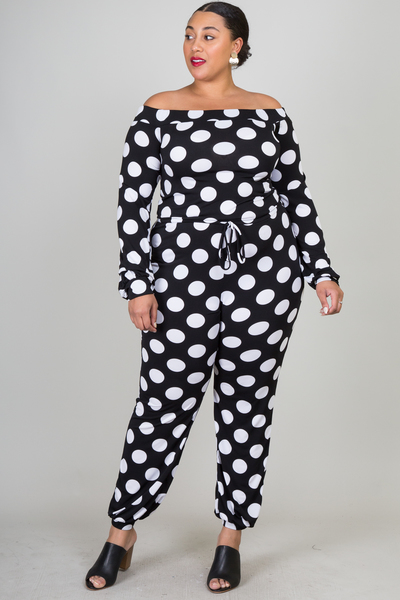 Off shoulders long sleeve dot print jumpsuits
