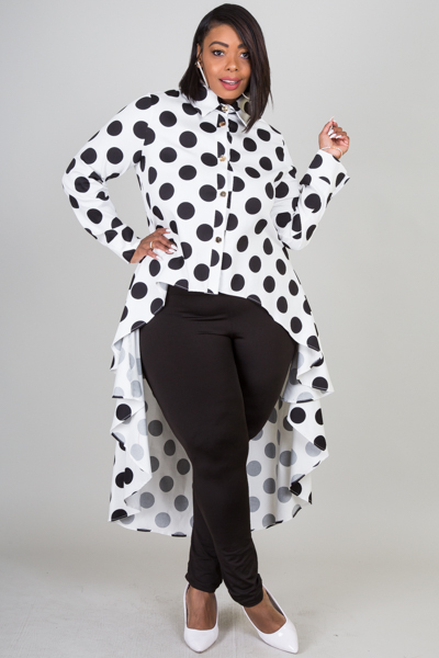 LONG SLEEVE POLKA DOT PRINTED TOP
