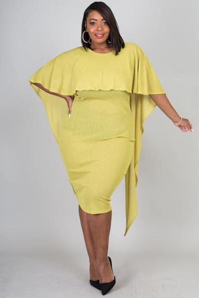 Short sleeve cascades in the back bodycon dress solid with slub.