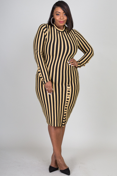 ROUND NECK LONG SLEEVE STRIPE WITH BUTTON POINT FITTED DRESS