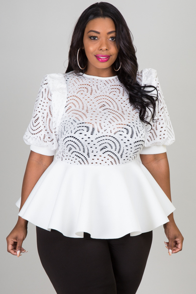 ROUND NECK LACE WITH PEPLUM TOP