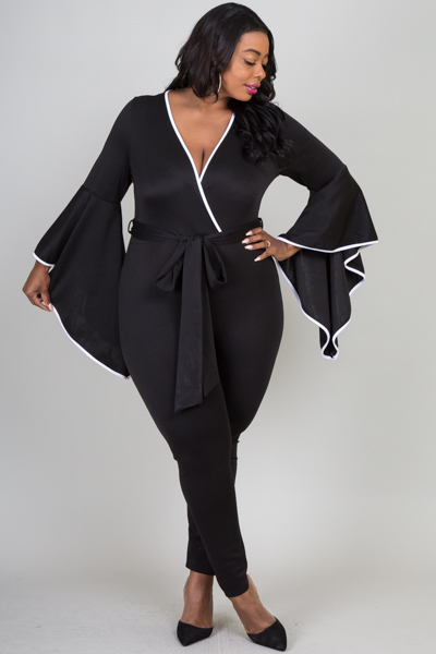 OVERLAP FRONT CASCADE SLEEVE FITTED JUMPSUIT