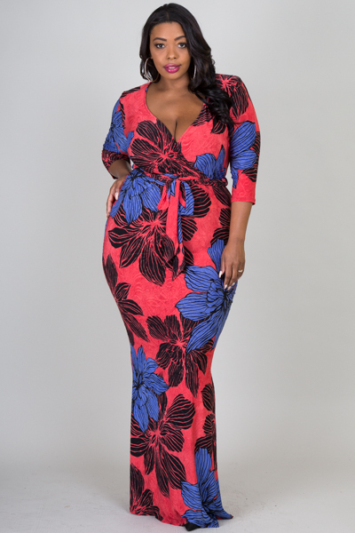 3/4 length sleeve deep v neck ties at waist big flower printed long dress