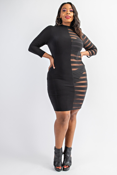 Mock neck black and see-through striped mesh mini dress