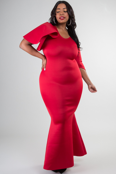 V-NECK  SPECIAL SLEEVE FITTED MAXI DRESS