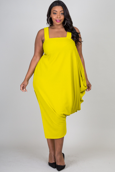 Sleeveless one side slit and cascade on side dress