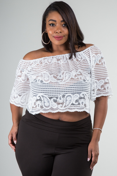 OFF SHOULDER SHORT SLEEVE SEE THROUGH LACE TOP