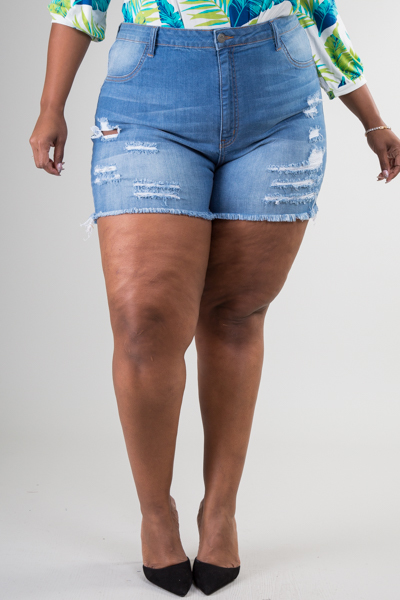 Plus Size High Waist Ripped Jean Short