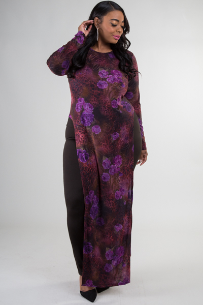 Round neck long sleeve side slit flower printed sexy dress