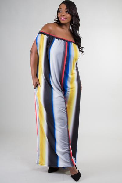Off shoulder with pocket comfortable stripe printed jumpsuit